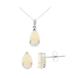 1.44ctw 6 x 8 mm. Pear Genuine Natural Opal Set 14kt White Gold