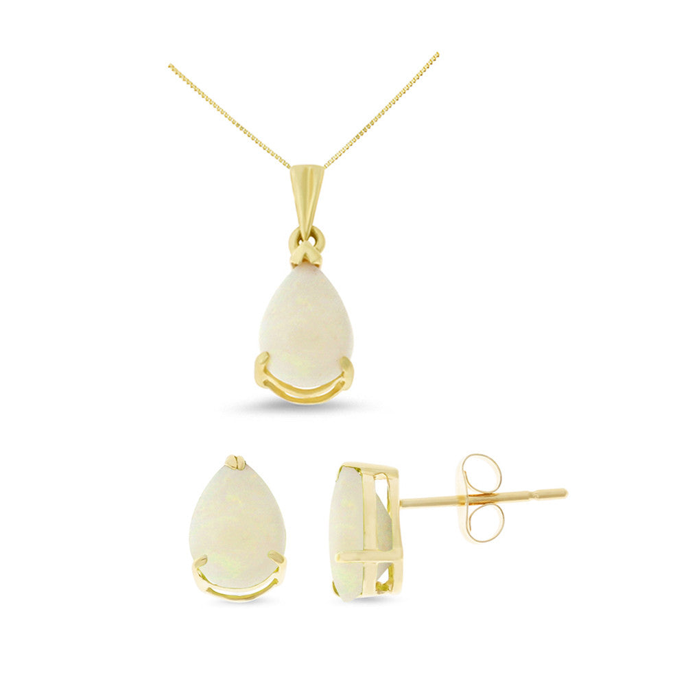 1.44ctw 6 x 8 mm. Pear Genuine Natural Opal Set 14kt Yellow Gold
