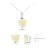 1.31ctw 6 mm. Heart Genuine Natural Opal Set 14kt White Gold
