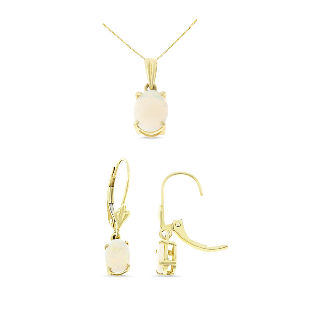 1.30ctw Oval Genuine Natural Opal Set 14kt Yellow Gold