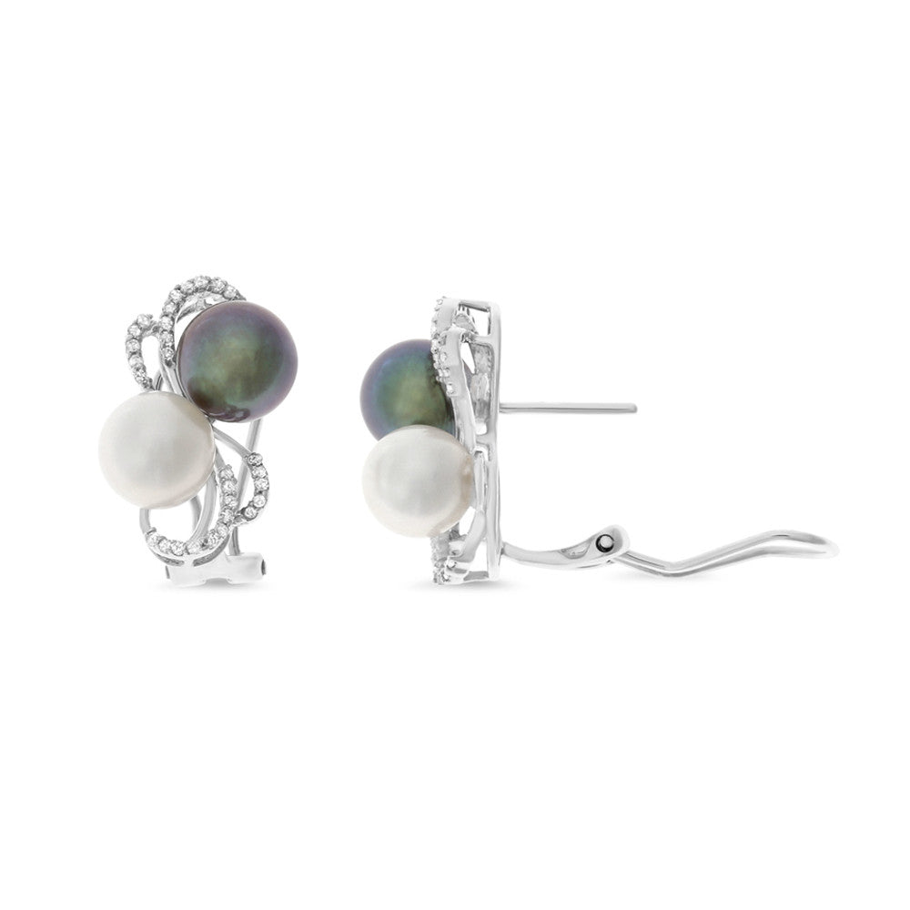 0.25ctw Genuine Natural White + Black Pearl and Diamond Earrings 14kt White Gold