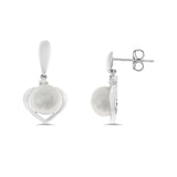 0.03ctw Genuine Natural White Pearl and Diamond Heart Earrings 14kt White Gold