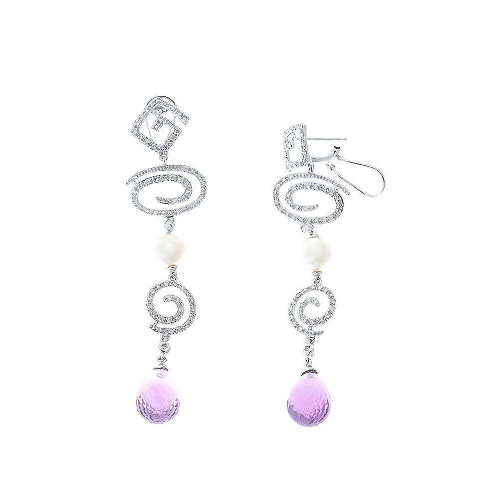 10.94ctw Genuine Natural Pearl + Amethyst and Diamond Earrings 14kt White Gold