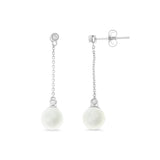 0.09ctw Genuine Natural White Pearl and Diamond Earrings 14kt White Gold
