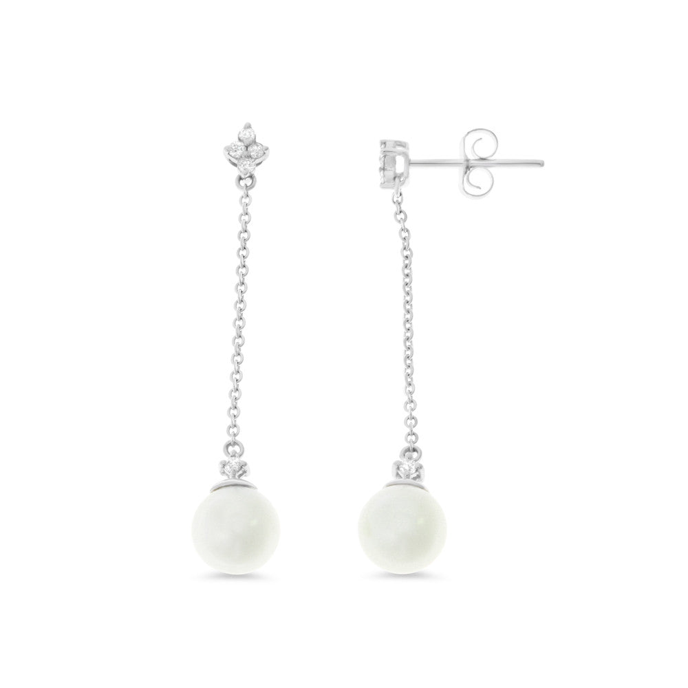 0.13ctw Genuine Natural White Pearl and Diamond Earrings 14kt White Gold