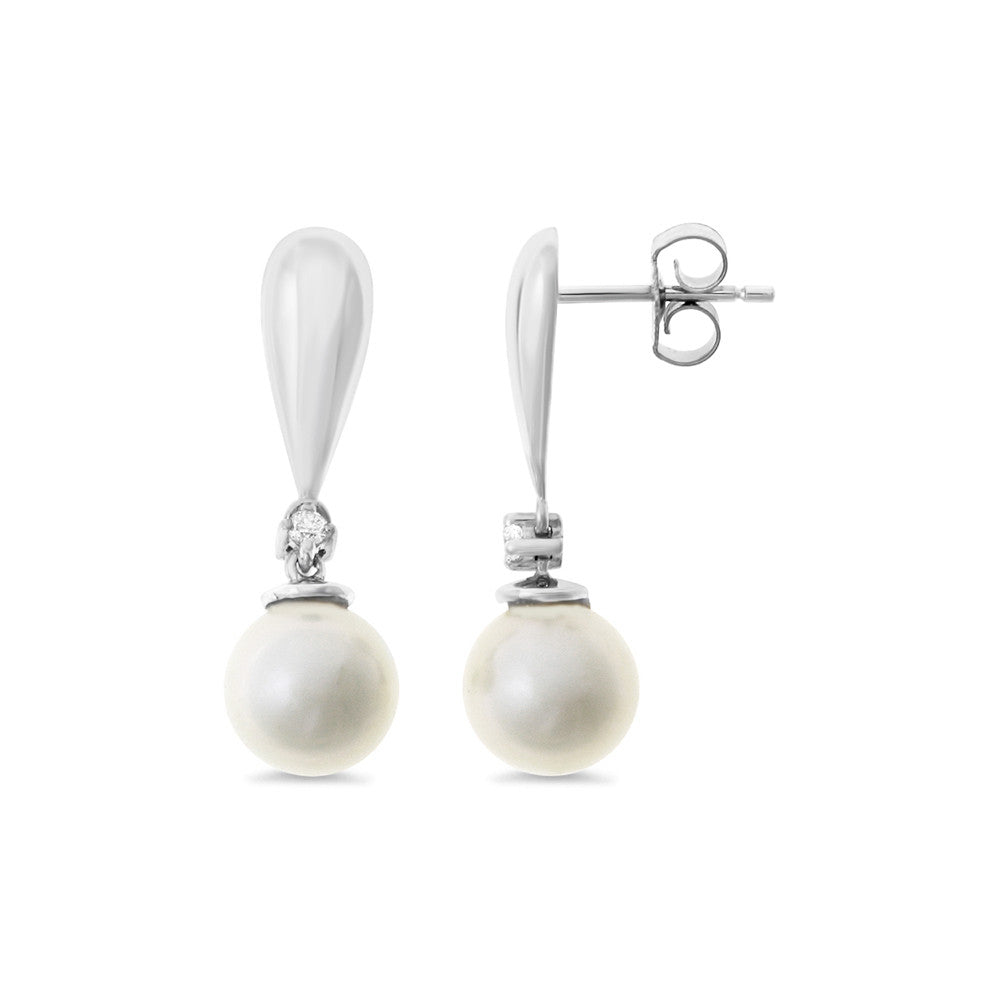 004ctw Genuine Natural White Pearl And Diamond Earrings 14kt White Gold