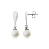 0.04ctw Genuine Natural White Pearl and Diamond Earrings 14kt White Gold