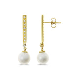 0.16ctw Genuine Natural White Pearl and Diamond Earrings 14kt Yellow Gold