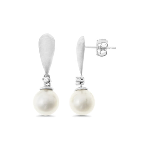 0.04ctw Genuine Natural White Pearl and Diamond Earrings 14kt White Gold (Sand Finish)