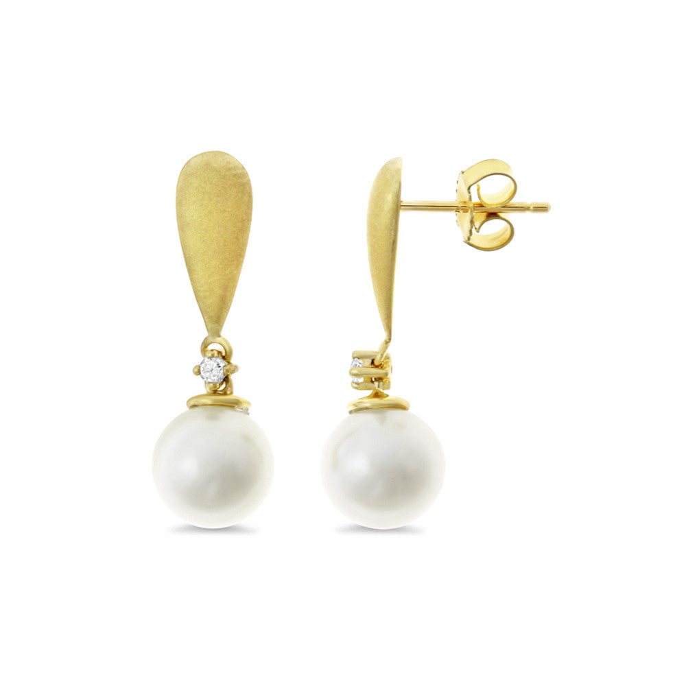 0.04ctw Genuine Natural White Pearl and Diamond Earrings 14kt Yellow Gold (Sand Finish)