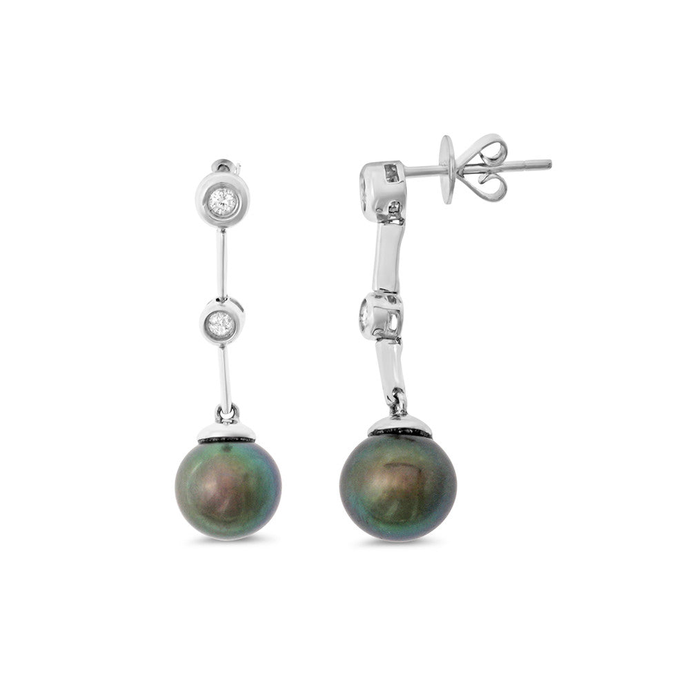 0.14ctw Genuine Natural Black Pearl and Diamond Earrings 14kt White Gold