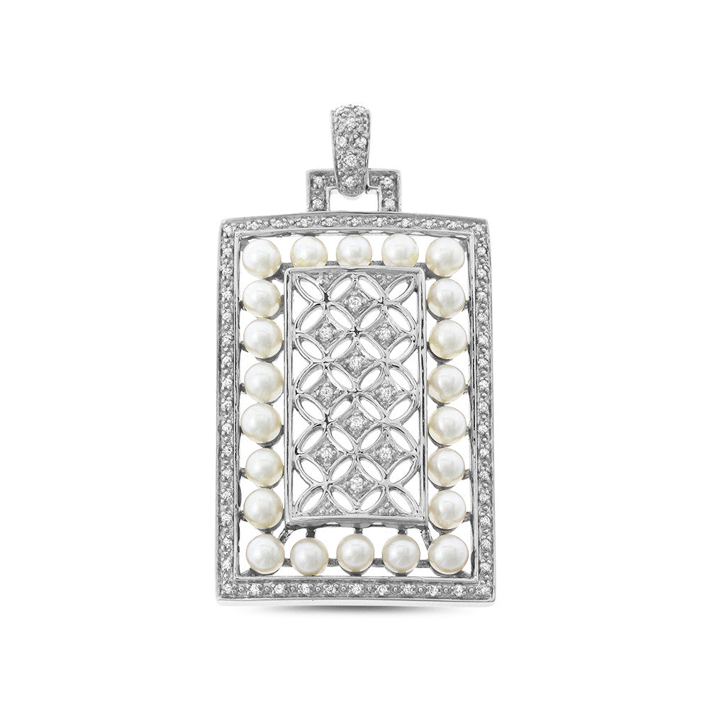 0.30ctw Genuine Natural White Pearl and Diamond Pendant 14kt White Gold