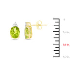 2.71ctw 6 x 8 mm. Oval Genuine Natural Peridot and Diamond Earrings 14kt Yellow Gold