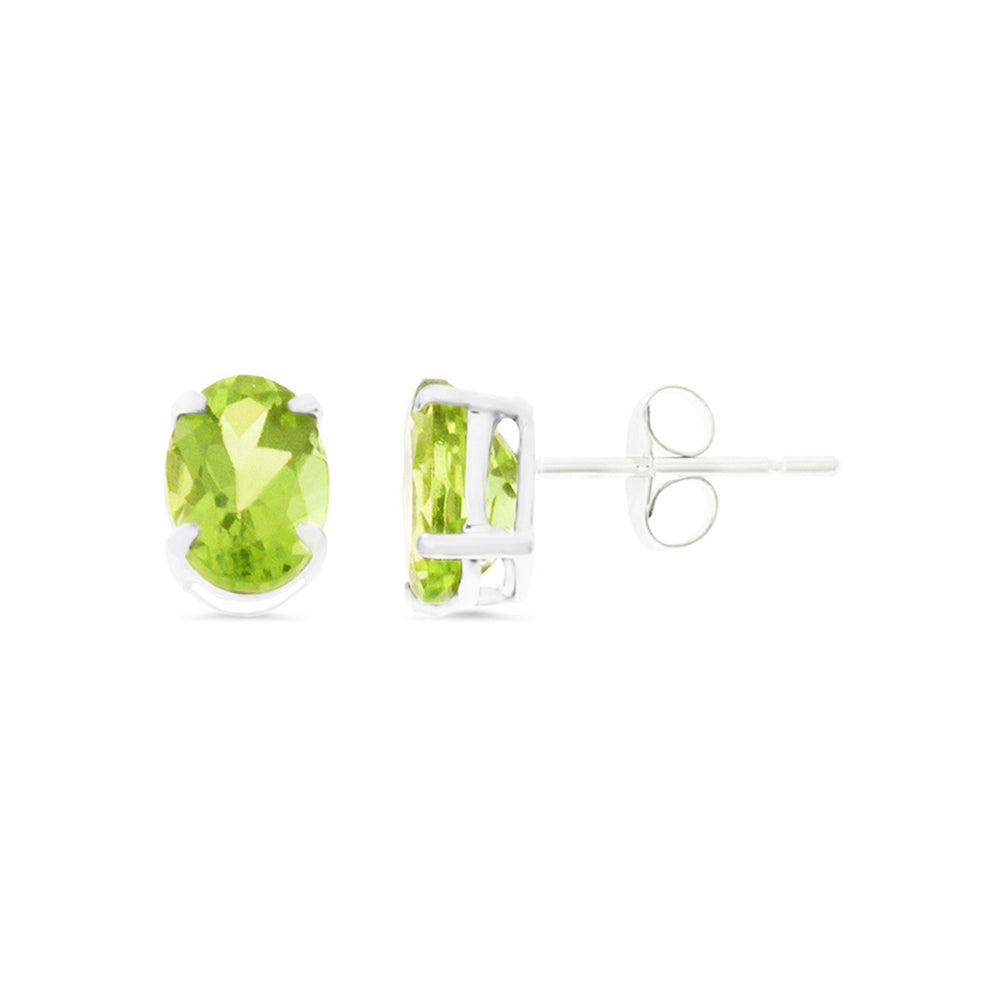 1.68ctw 5 x 7 mm. Oval Genuine Natural Peridot Earrings 14kt White Gold
