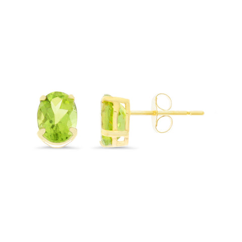 1.68ctw 5 x 7 mm. Oval Genuine Natural Peridot Earrings 14kt Yellow Gold