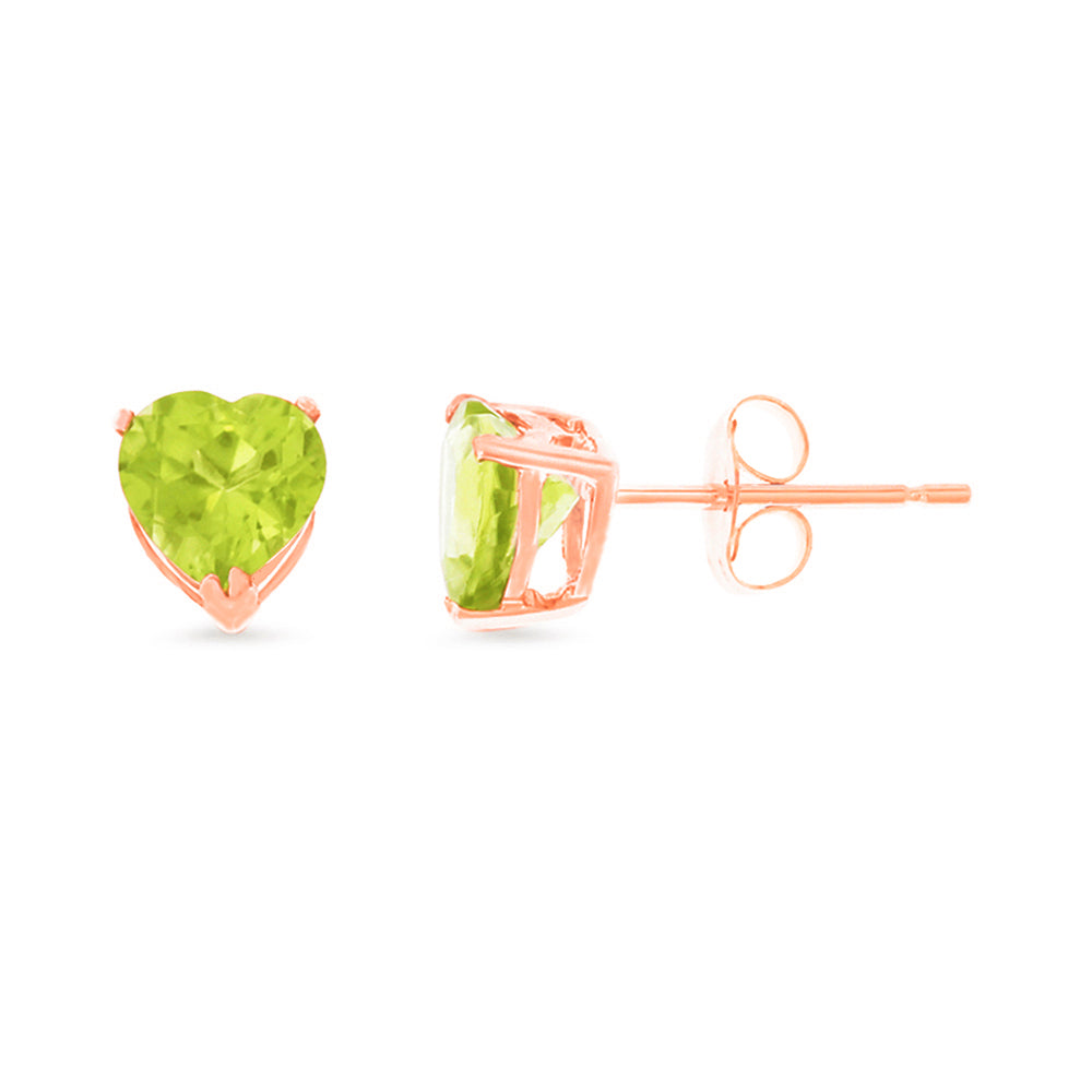 1.65ctw 6 mm. Heart Shaped Genuine Natural Peridot Earrings 14kt Rose Gold