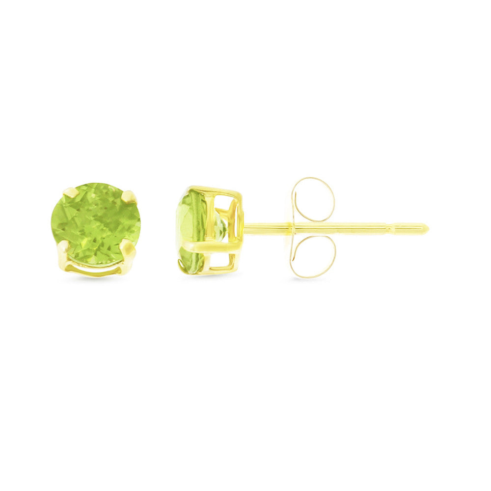 1.06ctw 5 mm. Round Shaped Genuine Natural Peridot Earrings 14kt Yellow Gold
