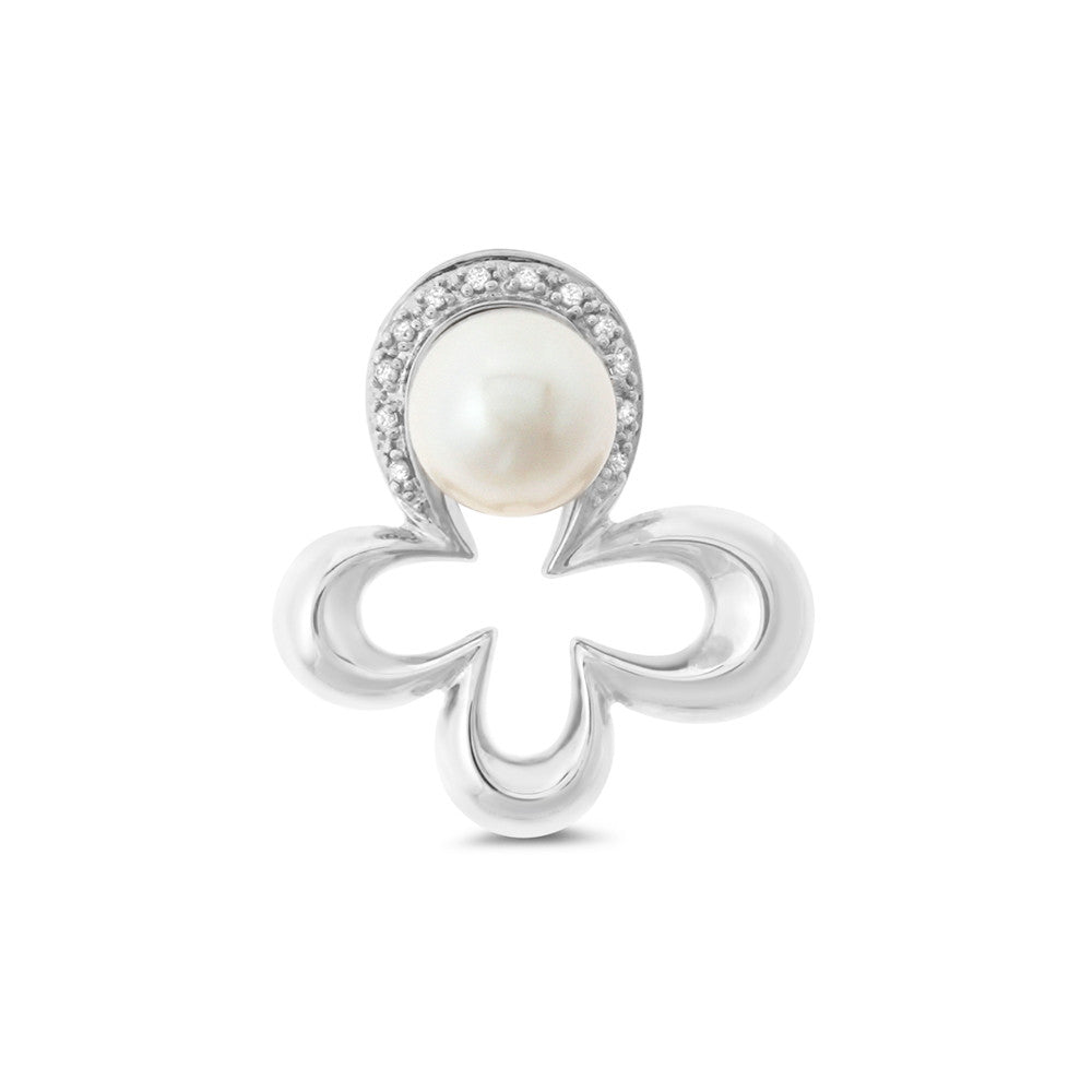 0.05ctw Genuine Natural White Pearl and Diamond Pendant 14kt White Gold