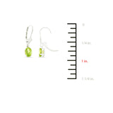 1.63ctw 5 x 7 mm. Oval Genuine Natural Peridot Leverback Earrings 14kt White Gold