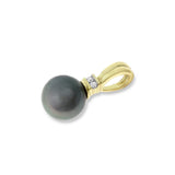 0.04ctw Genuine Natural Black Pearl and Diamond Pendant 14kt Yellow Gold
