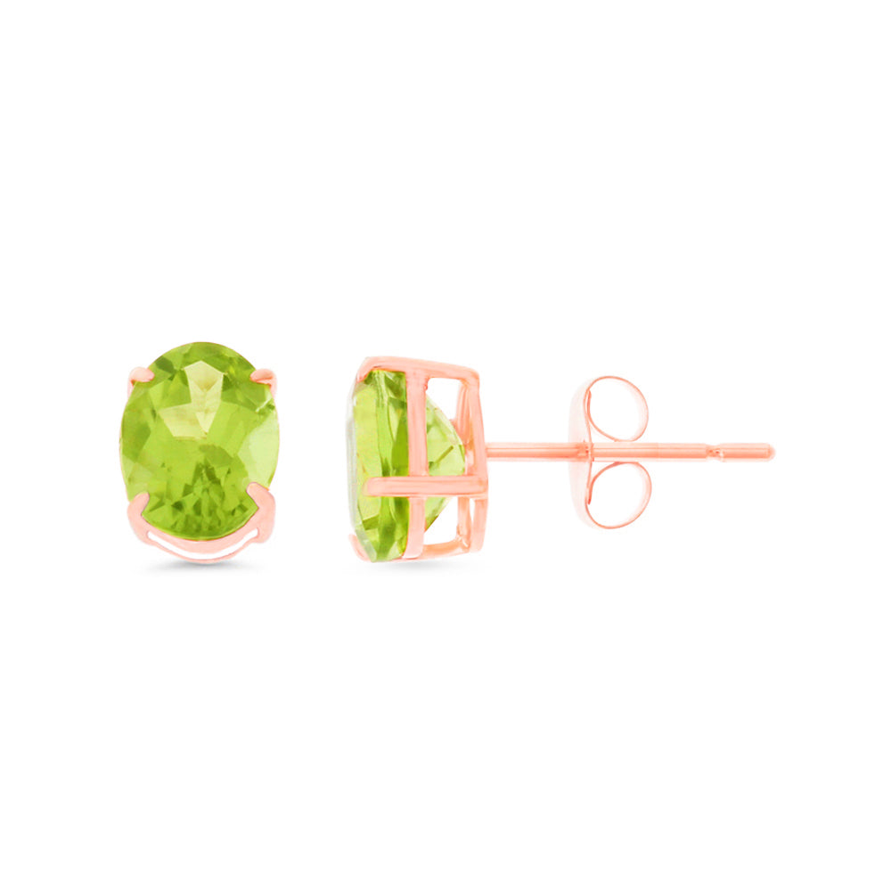 2.82ctw 6 x 8 mm. Oval Genuine Natural Peridot Earrings 14kt Rose Gold
