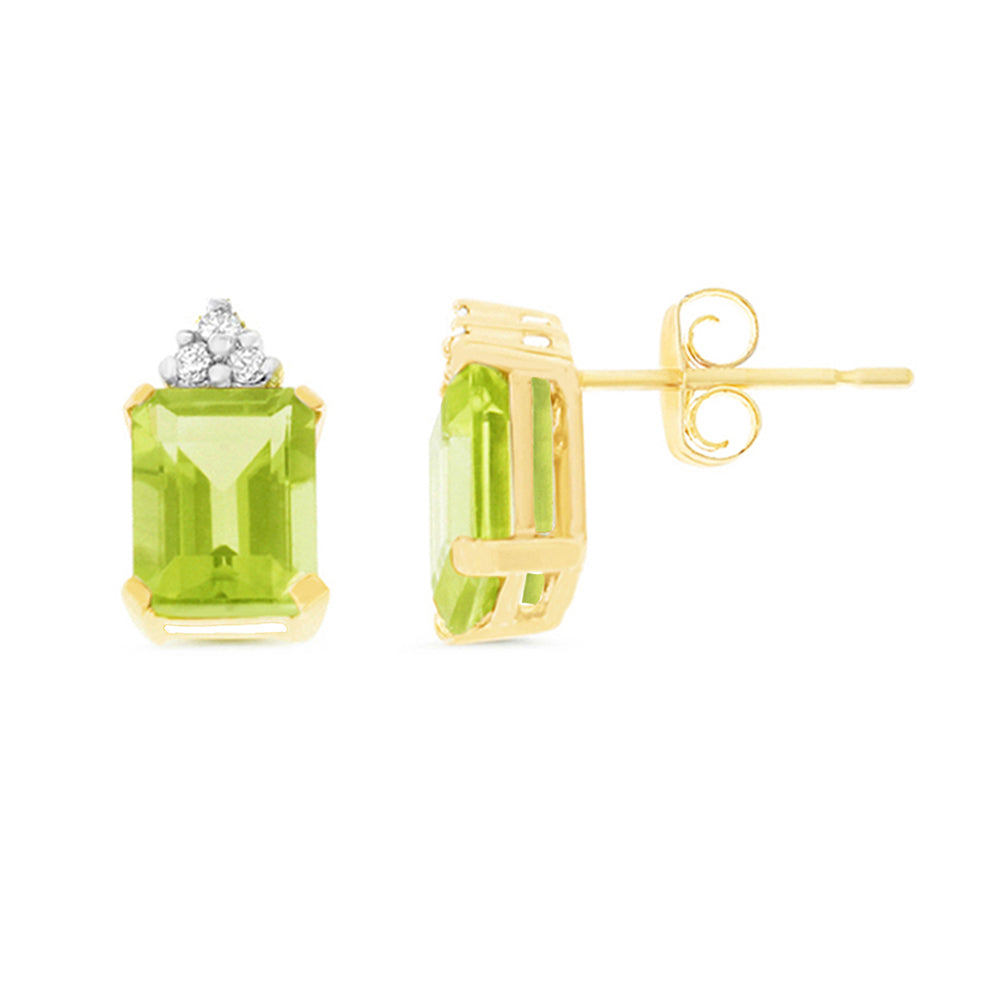 3.08ctw 6 x 8 mm. Emerald Cut Genuine Natural Peridot and Diamond Earrings 14kt Yellow Gold