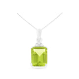 1.54ctw 6 x 8 mm. Emerald Cut Genuine Natural Peridot and Diamond Pendant 14kt White Gold