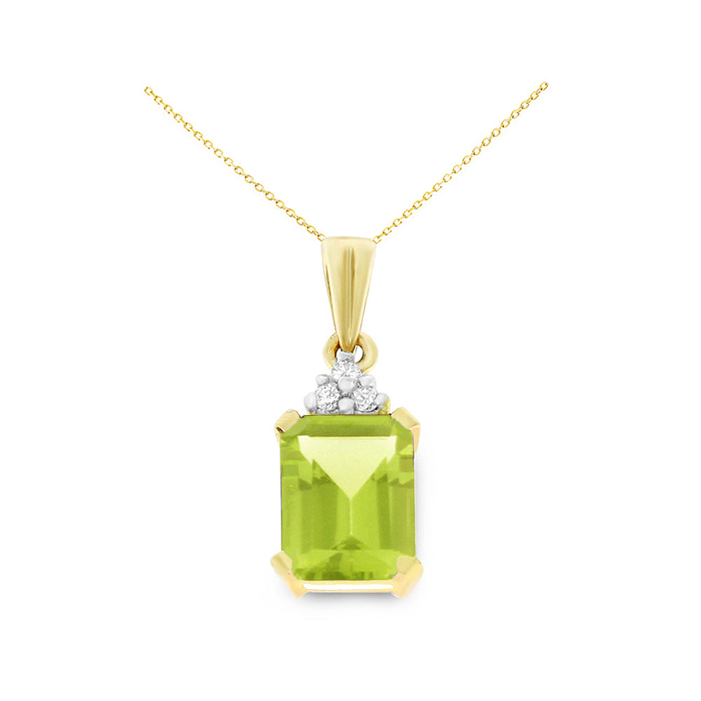1.54ctw 6 x 8 mm. Emerald Cut Genuine Natural Peridot and Diamond Pendant 14kt Yellow Gold