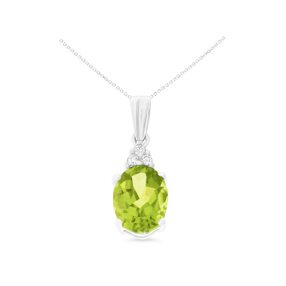 1.26ctw 6 x 8 mm. Oval Genuine Natural Peridot and Diamond Pendant 14kt White Gold
