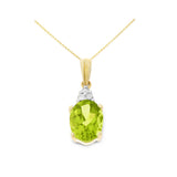 1.26ctw 6 x 8 mm. Oval Genuine Natural Peridot and Diamond Pendant 14kt Yellow Gold