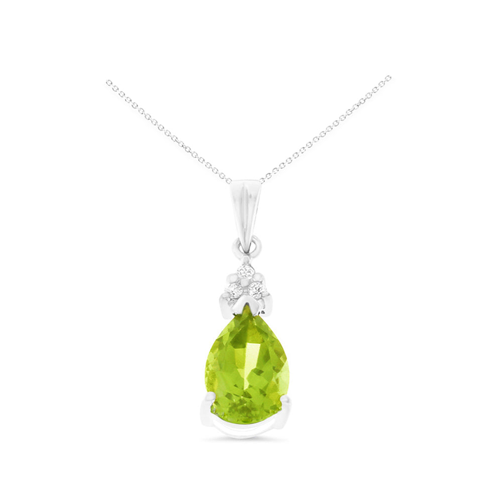 1.34ctw 6 x 8 mm. Genuine Natural Peridot and Diamond Pendant 14kt White Gold