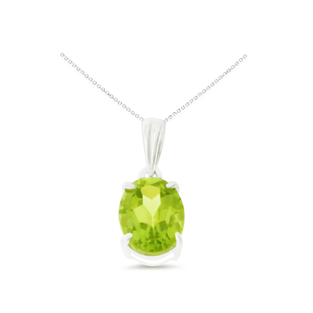 1.33ctw 6 x 8 mm. Oval Genuine Natural Peridot Pendant 14kt White Gold