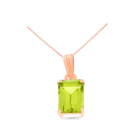 1.04ctw 5 x 7 mm. Emerald Cut Genuine Natural Peridot Pendant 14kt Rose Gold