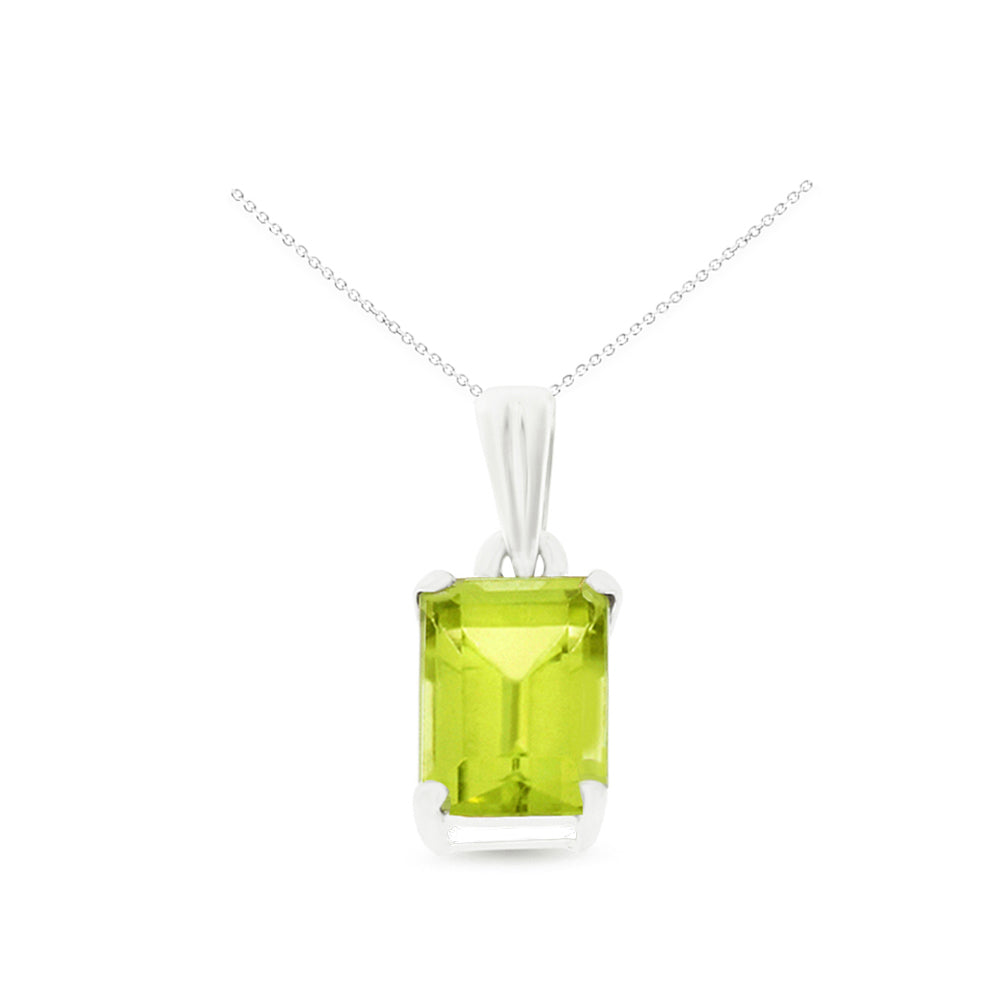 1.04ctw 5 x 7 mm. Emerald Cut Genuine Natural Peridot Pendant 14kt White Gold