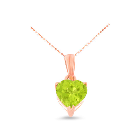 0.80ctw 6 mm. Heart Shaped Genuine Natural Peridot Pendant 14kt Rose Gold