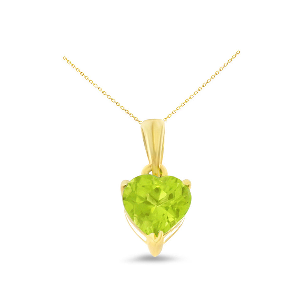 0.80ctw 6 mm. Heart Shaped Genuine Natural Peridot Pendant 14kt Yellow Gold