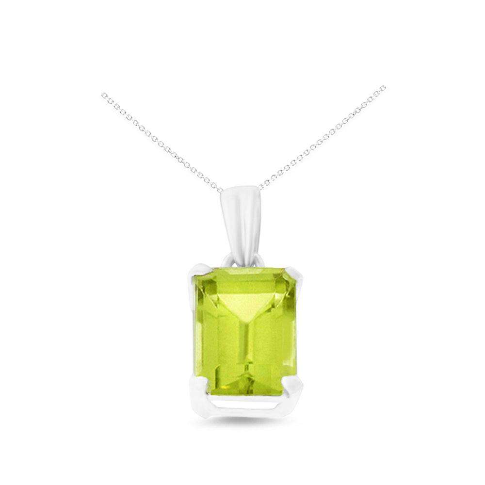 1.70ctw 6 x 8 mm. Emerald Cut Genuine Natural Peridot Pendant 14kt White Gold