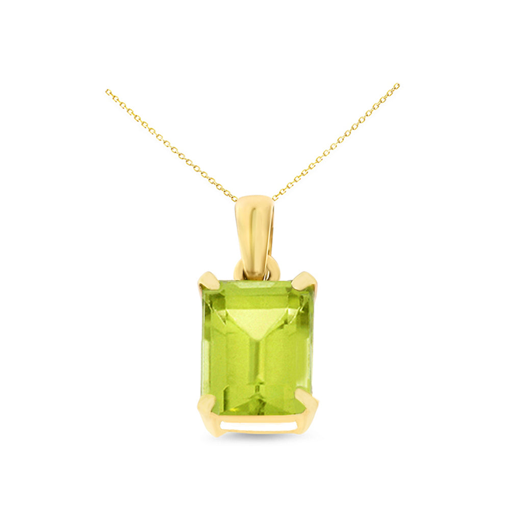 1.70ctw 6 x 8 mm. Emerald Cut Genuine Natural Peridot Pendant 14kt Yellow Gold