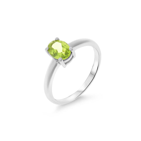 0.86ctw 5 x 7 mm. Oval Shaped Genuine Natural Peridot Ring Size 6.25 .925 Sterling Silver
