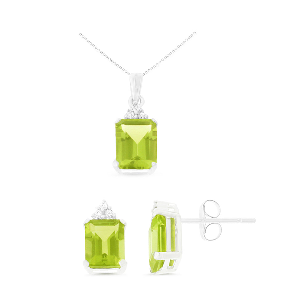 4.62ctw 6 x 8 mm. Emerald Cut Genuine Natural Peridot and Diamond Set 14kt White Gold