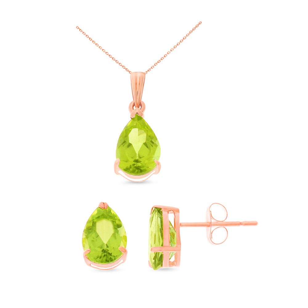 4.29ctw 6 x 8 mm. Pear Genuine Natural Peridot Set 14kt Rose Gold