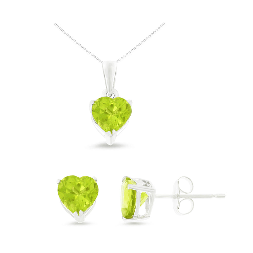 2.45ctw 6 mm. Heart Genuine Natural Peridot Set 14kt White Gold