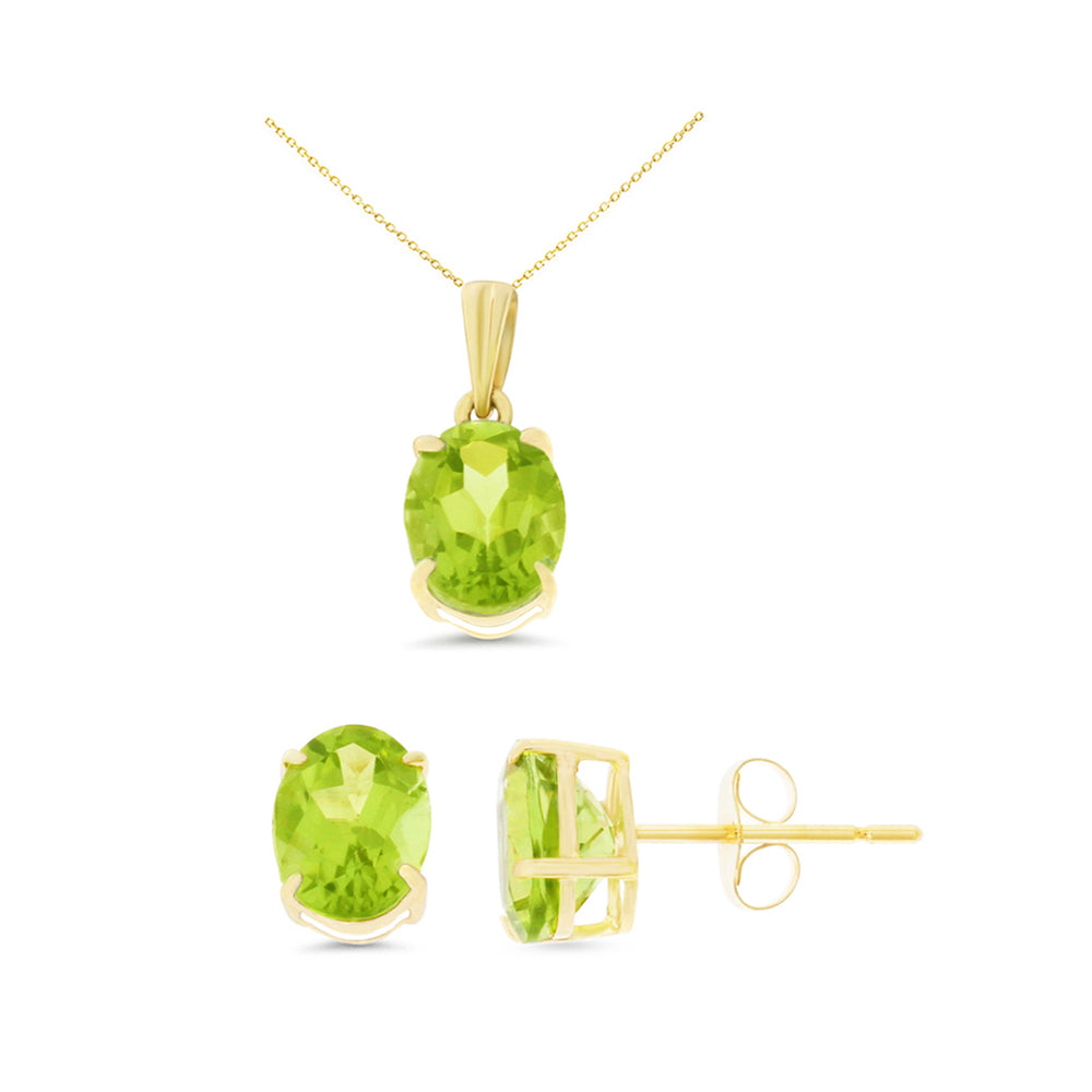 4.15ctw 6 x 8 mm. Oval Genuine Natural Peridot Set 14kt Yellow Gold