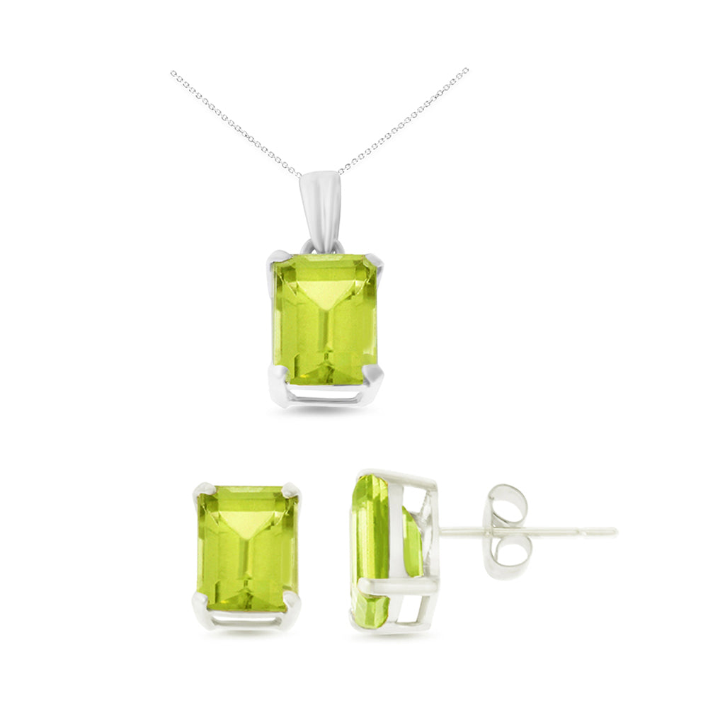 5.14ctw 6 x 8 mm. Emerald Cut Genuine Natural Peridot Set 14kt White Gold