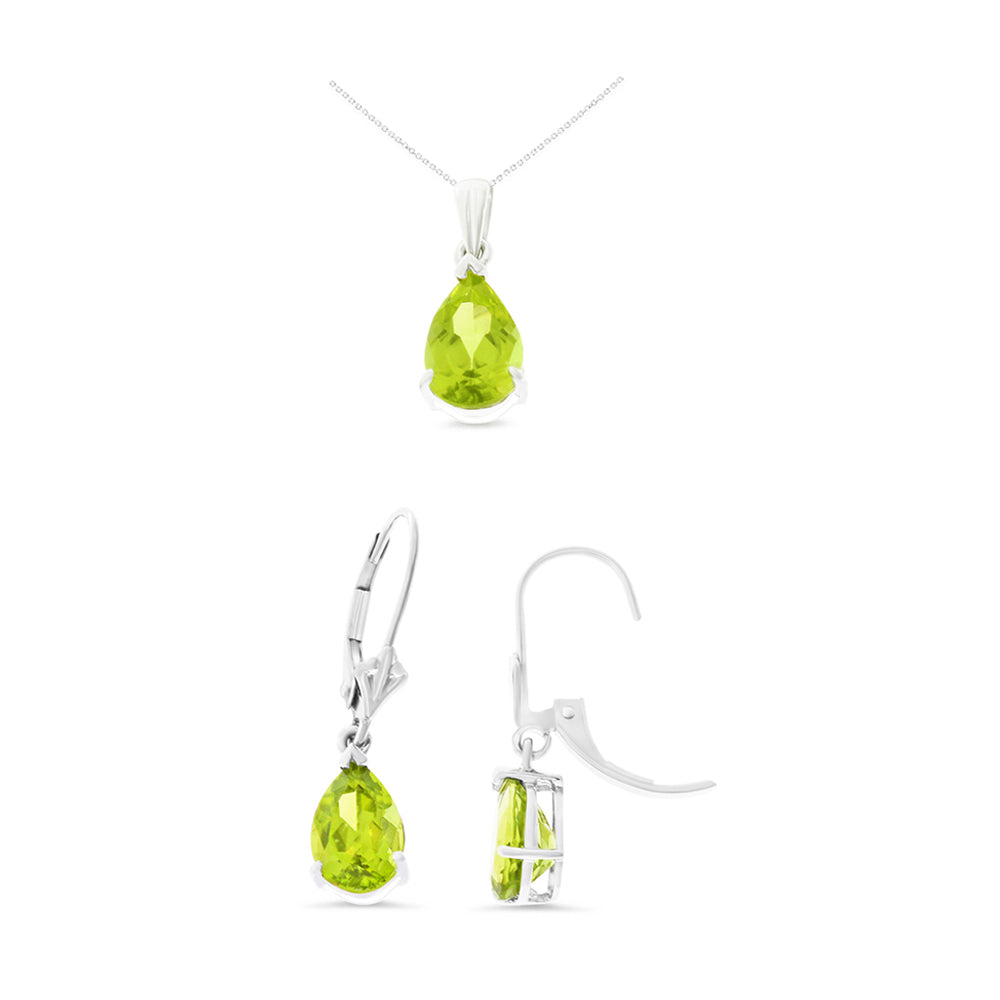 4.51ctw 6 x 8 mm. Pear Genuine Natural Peridot Leverback Set 14kt White Gold