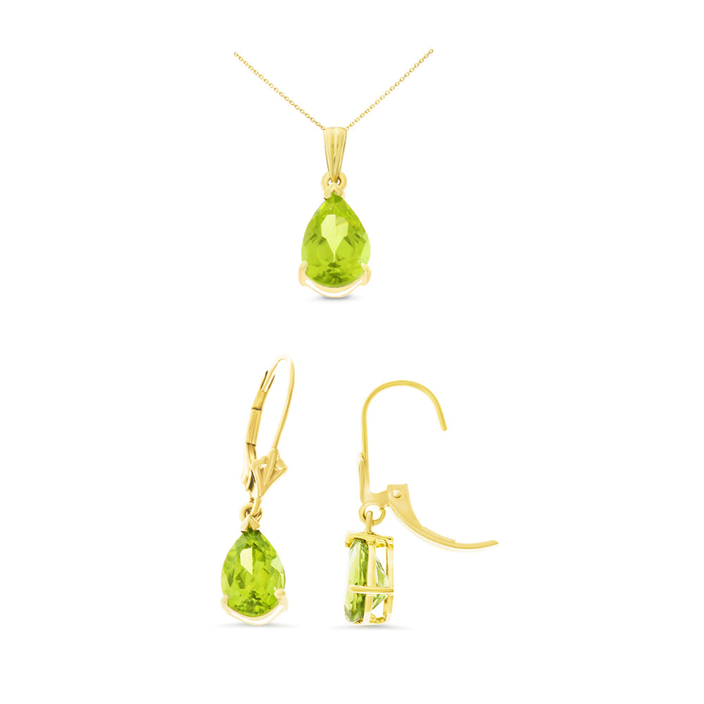 4.51ctw 6 x 8 mm. Pear Genuine Natural Peridot Leverback Set 14kt Yellow Gold