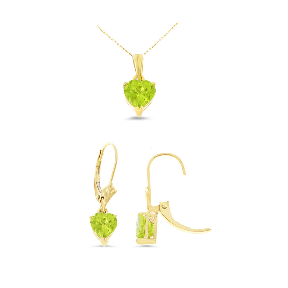2.34ctw Heart Genuine Natural Peridot Leverback Set 14kt Yellow Gold