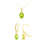 2.96ctw Oval Genuine Natural Peridot Leverback Set 14kt Yellow Gold
