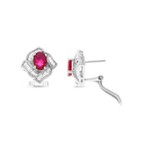 2.33ctw Genuine Natural Ruby and Diamond French Clip Earrings 18kt White Gold