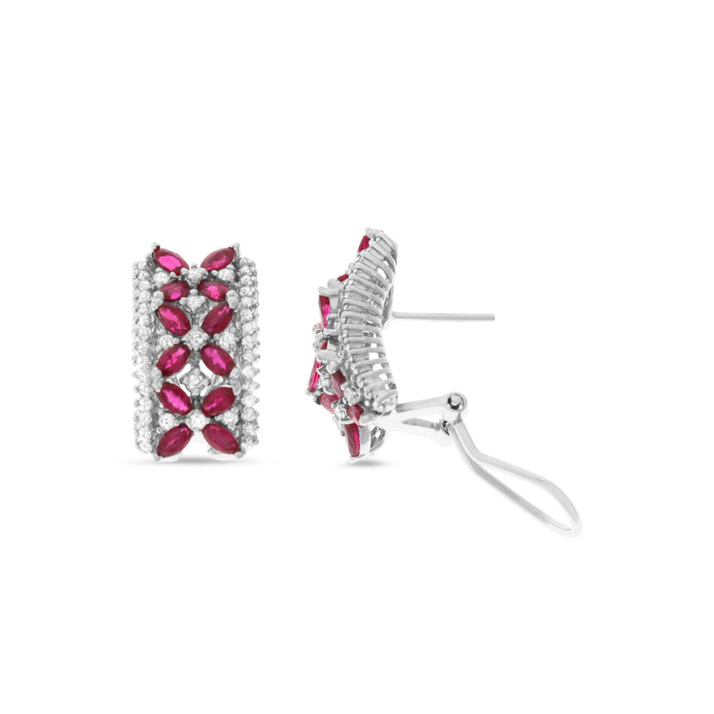 3.42ctw Genuine Natural Ruby and Diamond French Clip Earrings 14kt White Gold